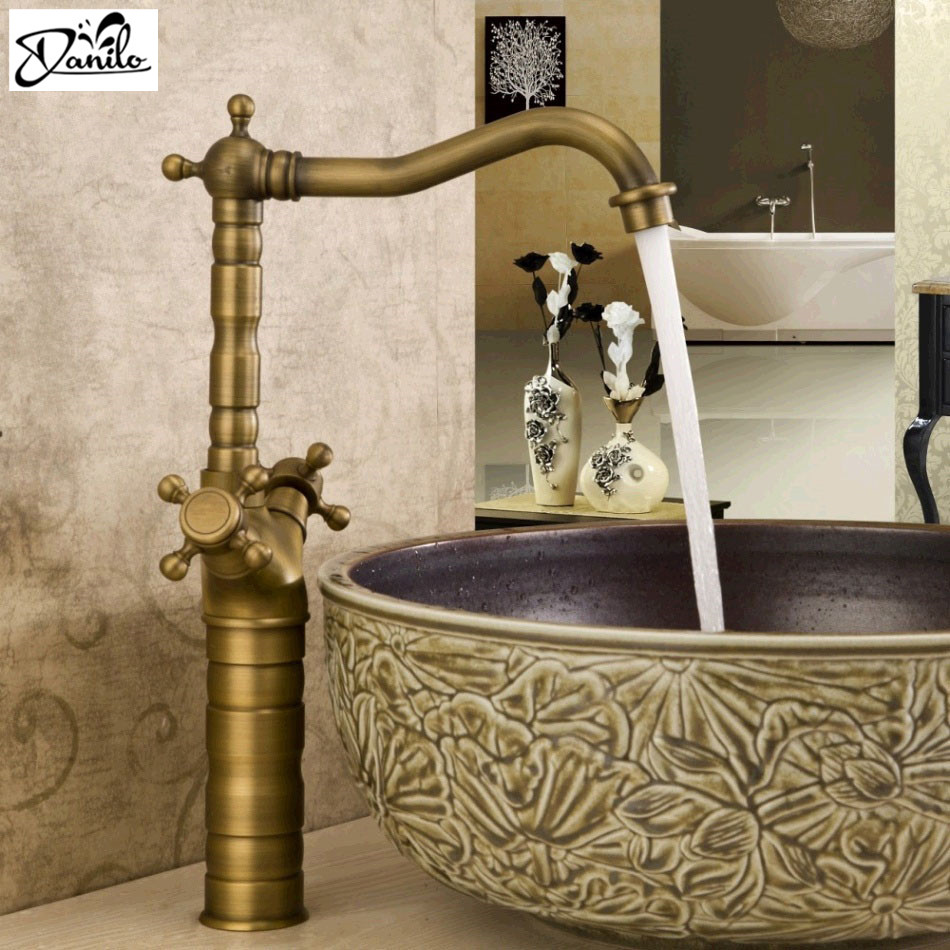 Brass sink taps bathroom - Classical Brass Sink Hot And Cold Art Antique Bathroom Basin Faucet Kitchen Mixer Tap Deck