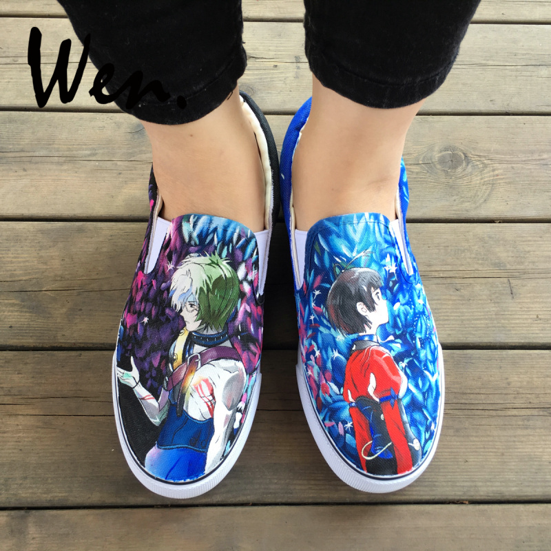 Blue Hand Painted Canvas Shoes One Piece Luffy Laughs Anime Men Womens High Top Canvas Sneakers