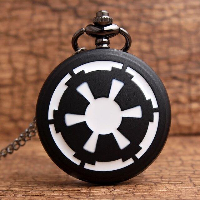 Unique Design Star Wars Quartz Pocket Watch Flip Black Necklace Pendant Chain Me