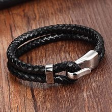 Silver Genuine Leather Stainless Steel Bracelet For Women Bracelets & Bangles Female Leather Bracelet ladies Charm Toggle-clasps(China)