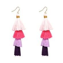 4 Strands Gabriela Ombre Fringe Drops Earrings Shimmy Statement Trend Tassels