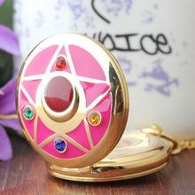 Цветные карманные часы Сейлор Мун для детей, винтажная подвеска, подарок для девушек, брелок для часов, ожерелье, цепь# CF1028