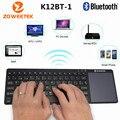 Zoweetek K12BT-1 Ultra Delgado Bluetooth Wireless Touchpad Keyboard con Inglés Ruso Español Para PC Portátil Tablet Móvil