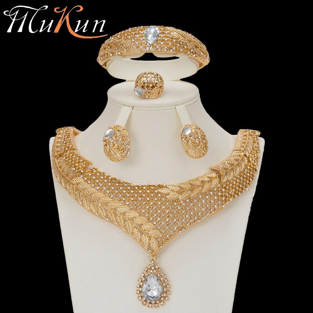 MuKun joyería Africana nigeriana boda joyería establece para novias Cristal de oro de dubai conjuntos de joyería para las mujeres fiesta de compromiso
