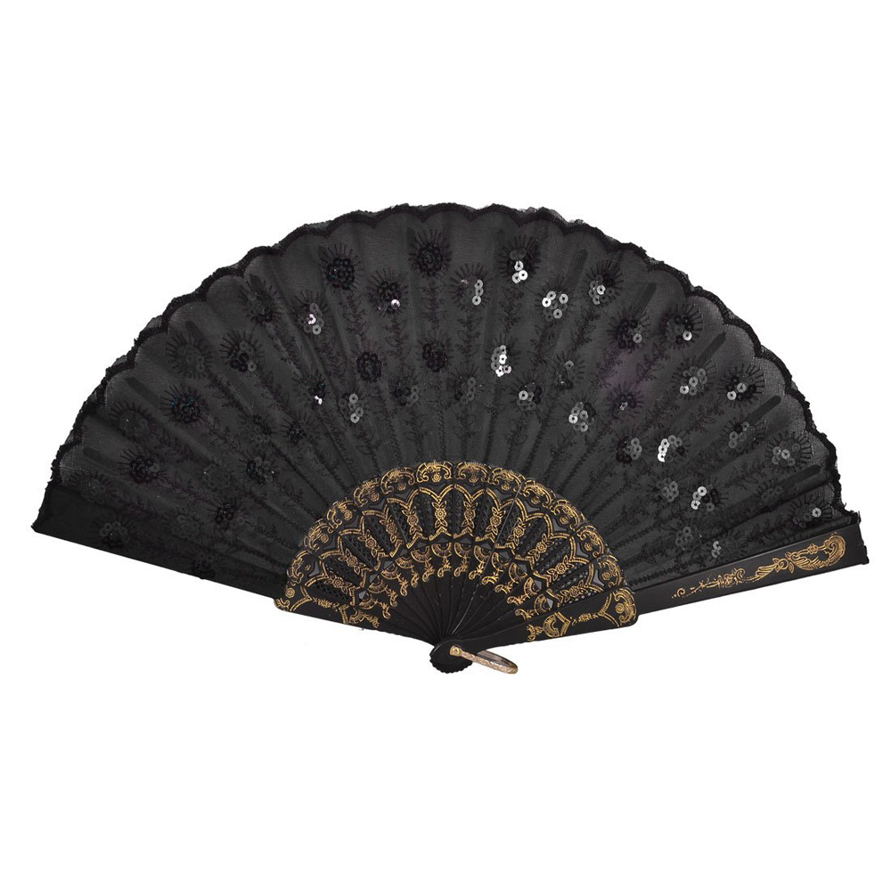 Hot Sale Black Plastic Frame Embroidery Floral Detail Folding Hand Fan