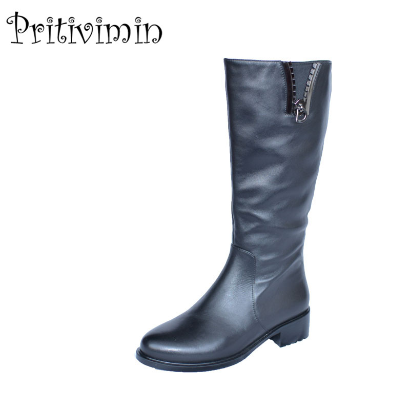 2017 Fashion girls heel plush lining long boots women winter botas mujer shoes Ladies cow leather bottes femmes Pritivimin FN3 2017 fashion women boots botas mujer zapatos mujer ankle boots for women thigh high boots chaussure femme bottes femmes 2016