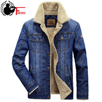 XXL 4XL Men Jacket Coats Brand Clothing Denim Jacket Fashion Jeans Fur Thick Velvet Fleece Warm