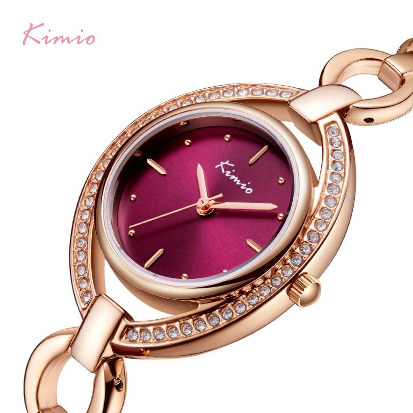 KIMIO Brand Women Luxury Crystal Unique Dial Watch Rose Gold Hollow Bracelet Dress Watches Ladies Diamond Rhinestone Wristwatch