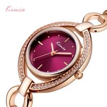 Kimio 브랜드 여성 럭셔리 크리스탈 독특한 다이얼 시계 로즈 골드 중공 팔찌 드레스 시계 숙녀 다이아몬드 라인 석 손목 시계