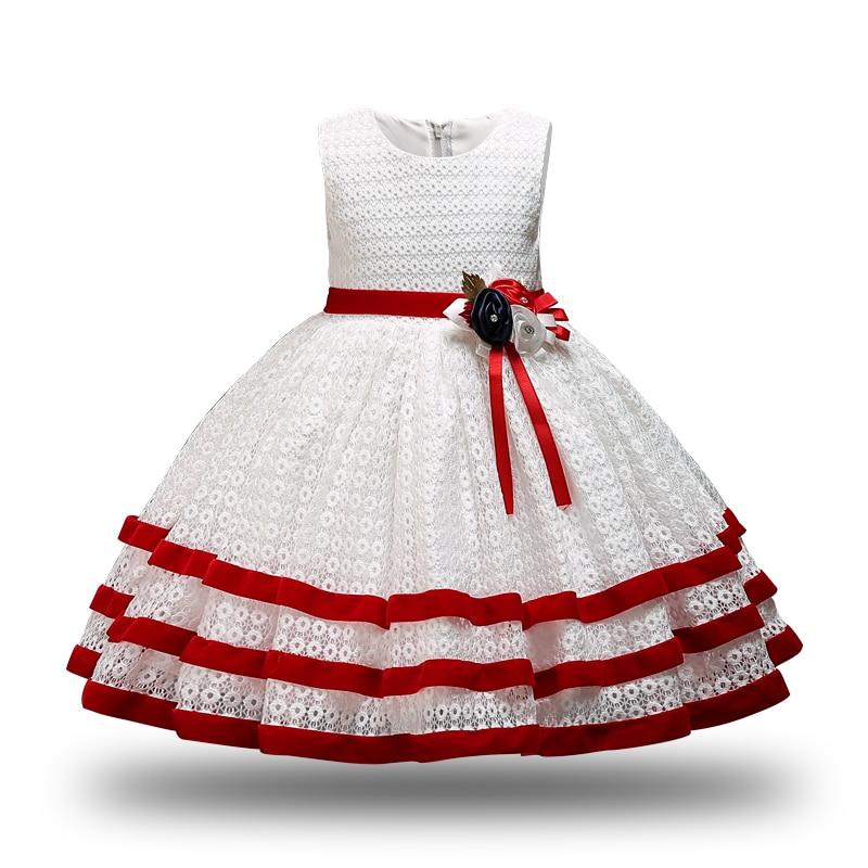 Нарядное платье для девочек, детское вечернее платье, платье-пачка принцессы с красным цветком, Рождественская одежда, одежда для детей 2-10 л...
