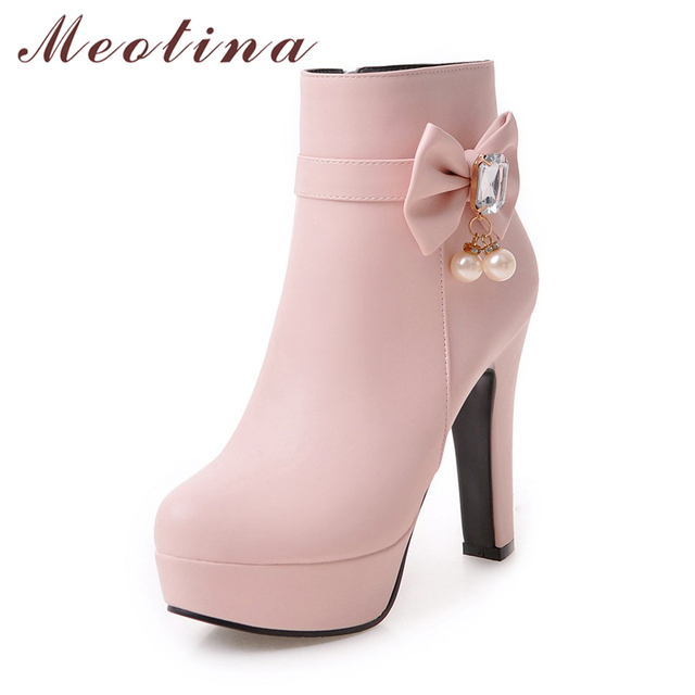 Women's High-Heels Round Closed Toe PU Mid-Top Solid Zipper Boots Pink-Bows 40