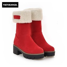 New Arrival Fashion Women Shoes Round Toe Platform Fur Trim Winter Boots For Women Snow Boots Warm Plush Ladies Free Shipping