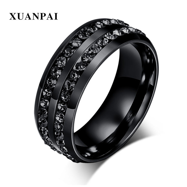 Xuanpai New Stylish Men Women S Rings Black Crystyal 8mm Stainless Steel Wedding Bands