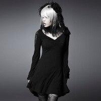 القوطية الأسود مثير ديب v الرباط اللباس البصرية steampunk حجم عارضة طويلة الأكمام القطن قصير اللباس الحرة