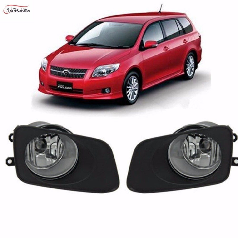 JanDeNing For TOYOTA COROLLA AXIO 2007 & COROLLA FIELDER  Clear Front Fog Lamp Cover Trim Replace assembly kit black (one Pair) 1set front chrome housing clear lens driving bumper fog light lamp grille cover switch line kit for 2007 2009 toyota camry
