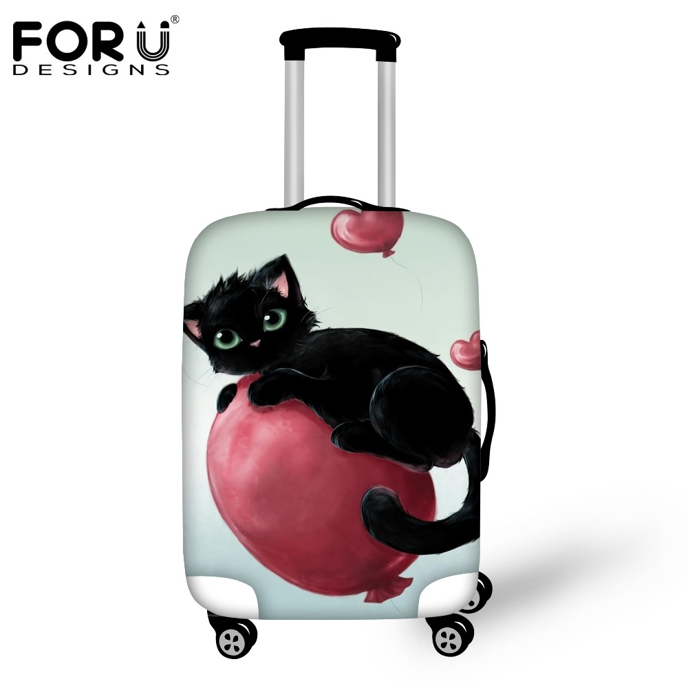 FORUDESIGNS Fashion Travel Luggage Protective Cover Cute Cat Print Waterproof Suitcase Rain Cover Apply to 18-30inch Luggage Bag