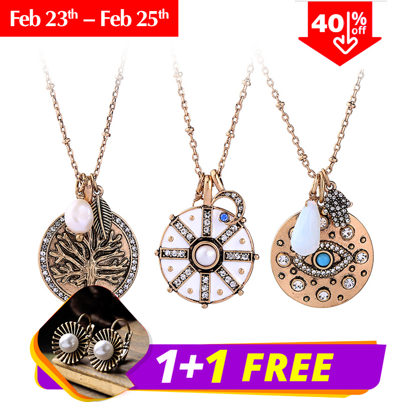 KISS ME Simple Pendant Necklace Women Fashion Tree Eye Round Crystal Necklace Vi