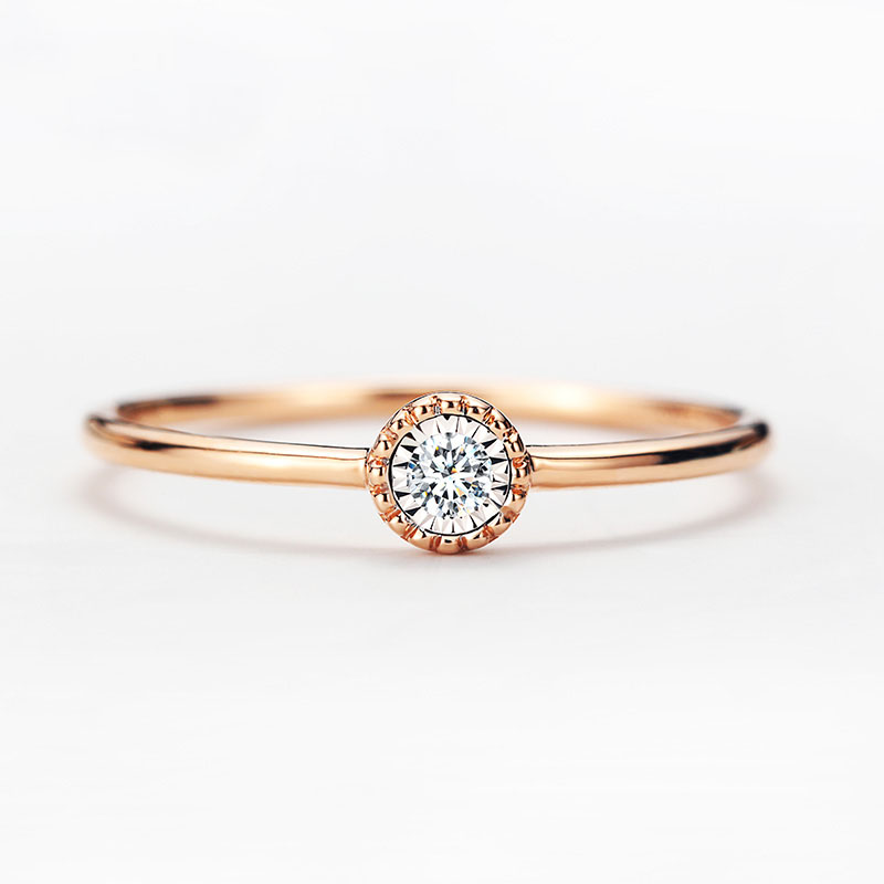 Solid AU750 Rose Gold Bezel Setting Ring Engagement Ring 0.026CT pure au750 rose gold love ring lucky cute letter ring 1 13 1 23g