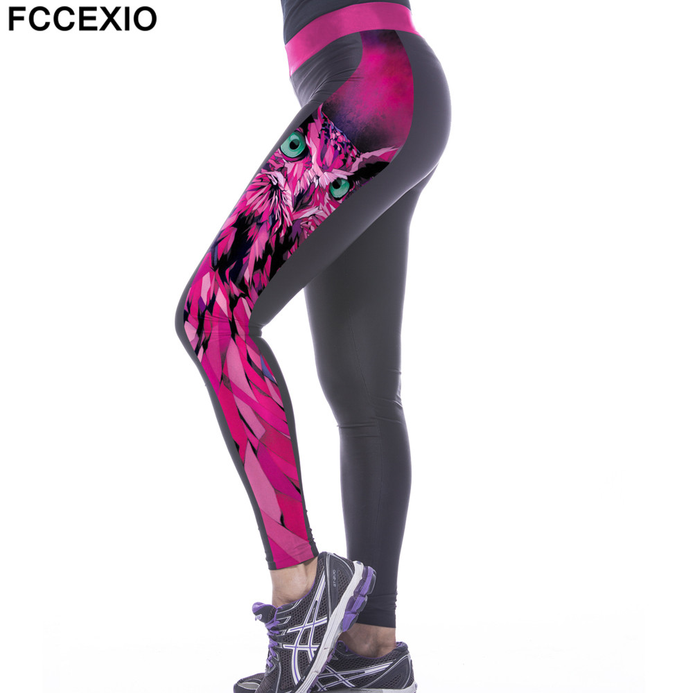 FCCEXIO Wholesale High Waist Workout   Leggings   3D Print Pink Owl   Legging   Push Up Breathable Fitness Women Pants Sporting Leggins
