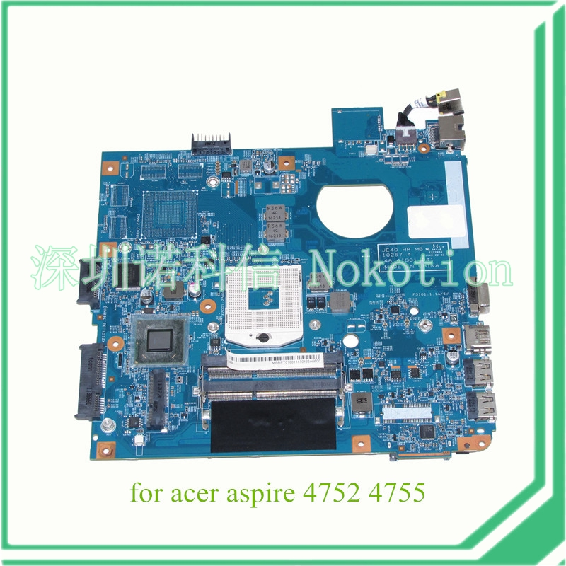 NOKOTION JE40 HR MB 10267-4 48.4IQ01.041 For acer aspire 4752 4755 laptop motherboard HM65 DDR3 MBRPT01001 MB.RPT01.001 nokotion z5wae la b232p for acer aspire e5 521 laptop motherboard nbmlf11005 nb mlf11 005 ddr3