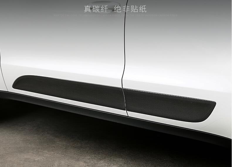 4PCS Carbon Fibre CAR SIDE DOOR BODY PROTECTOR Molding COVER TRIM FOR Porsche MACAN 2014 2015 2016 2017 by EMS