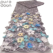 Puredown high quality african lace fabric 2019 New style French net 3D flower African tulle mesh