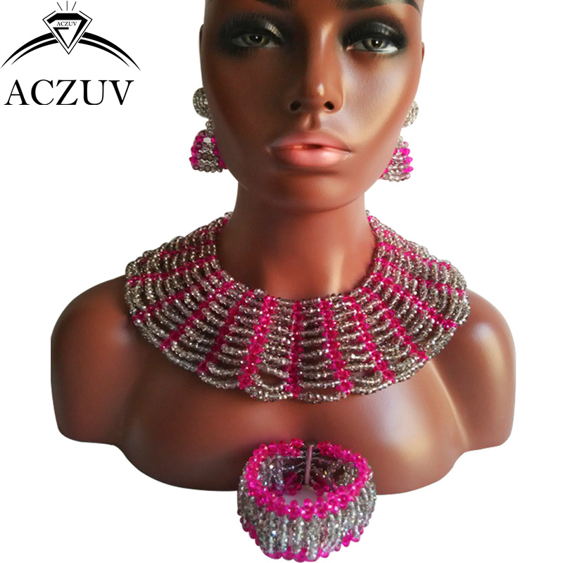 ACZUV Brand Grey Jewelry Sets African Beads Jewelry Set Nigerian Wedding Neklace AS021