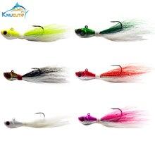 6pcs 1oz 6 colors bucktail jigs 3D eyes Luminous saltwater big game Bass fishing lures