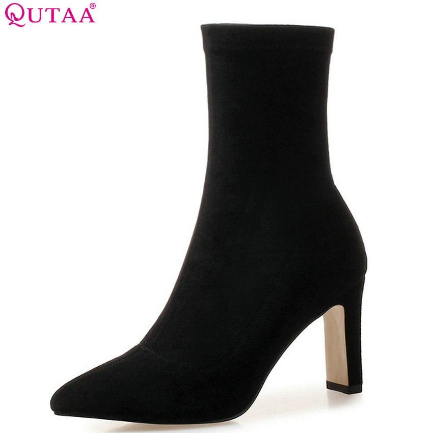 Qutaa 2020 botas de tornozelo feminino botas de meia todos os jogos plataforma apontou dedo do pé quadrado salto alto deslizamento em botas femininas tamanho grande 34-43