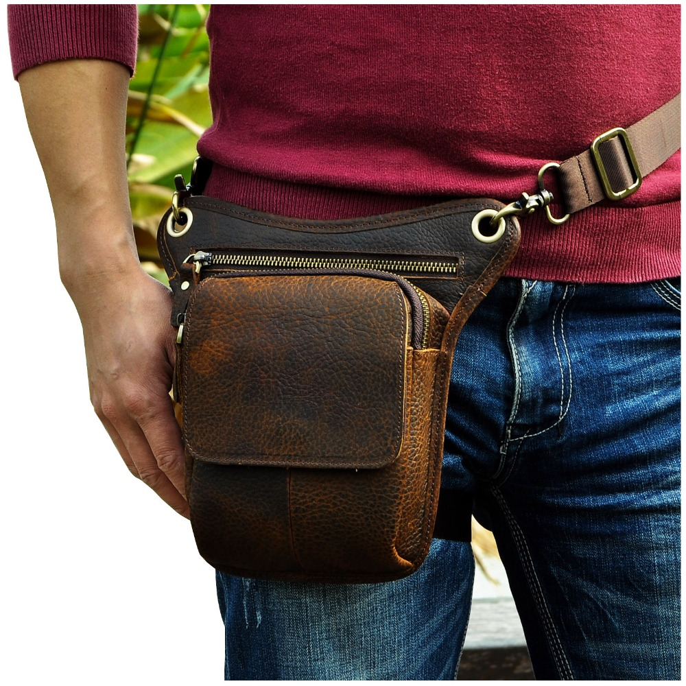 Hot Sale Top Quality Crazy Horse Real Leather Men Vintage Brown Small Belt Messenger Bag Waist Pack Drop Leg Bag 211-1