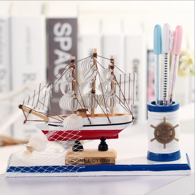 Mediterranean Style Wooden Sailboat Decoration Student Stationery Wooden Crafts Sailing Desktop Storage Ship Model Student Gift in Figurines Miniatures from Home Garden