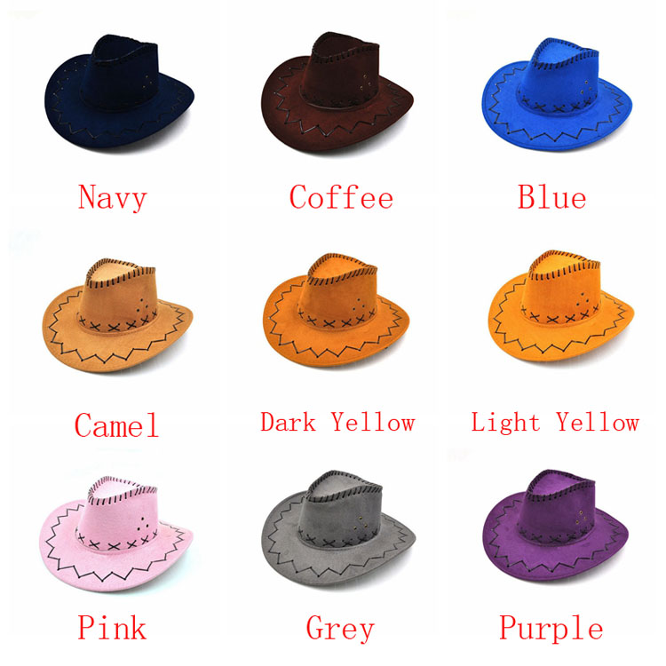 100pcs/lot Wide Brim Cowboy Hat Suede Look Wild West Fancy Dress Men Girls Solid Colors Gorros Cap Women's Hats Chapeau Femme 1