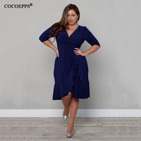 New Women Plus Size Elegant Dress 2017 Spring Summer Sexy Dress Solid Large Size V Neck