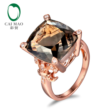 14kt oro rosa 10,21ct Topacio ahumado 0,15ct diamantes naturales anillo de compromiso envío gratis