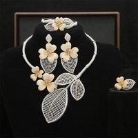Роскошные Цветочные 4 шт. эффектные комплекты украшений для женщин Свадебные кубический циркон Кристалл CZ индийский Африканский Свадебный