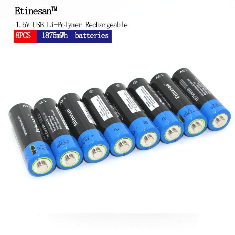 新革命! 8 ピース/ロット Etinesan 1.5 V AA 1875mWh リチウムポリマー充電式リチウムリチウムイオン電池  グループ上の 家電製品 からの 交換電池 の中 1