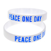 Promo Gift 1PC Printed Logo White Wristband Adult Size Peace One Day Silicone Bracelet
