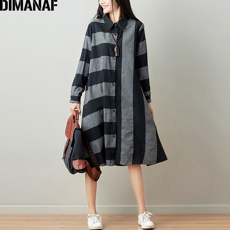 DIMANAF Women Blouse Long Sleeve Shirt Linen Autumn Plus Size Femme Striped Print Office Lady Basic Clothing Loose Cardigan 2018