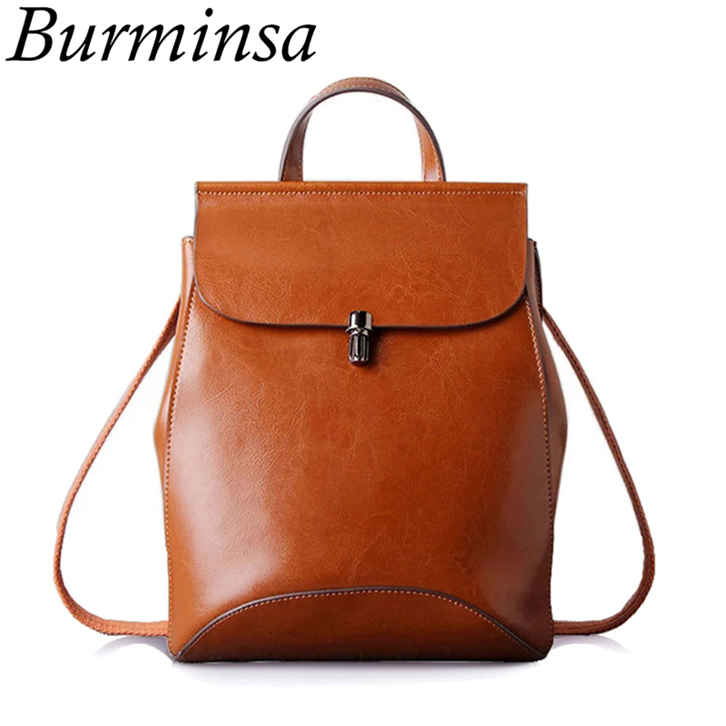 Burminsa Brand Classic Women Genuine Leather Backpack Designer Shoulder Bags College Bookbags School Bags For Teenage Girls 2017 women s classic backpack