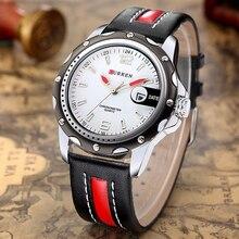CURREN Nuevo Reloj de Los Hombres de la Marca de Lujo de Cuero Genuino Reloj de Cuarzo Fecha De Visualización Analógica Casual Reloj de Los Hombres Relojes relogio feminino