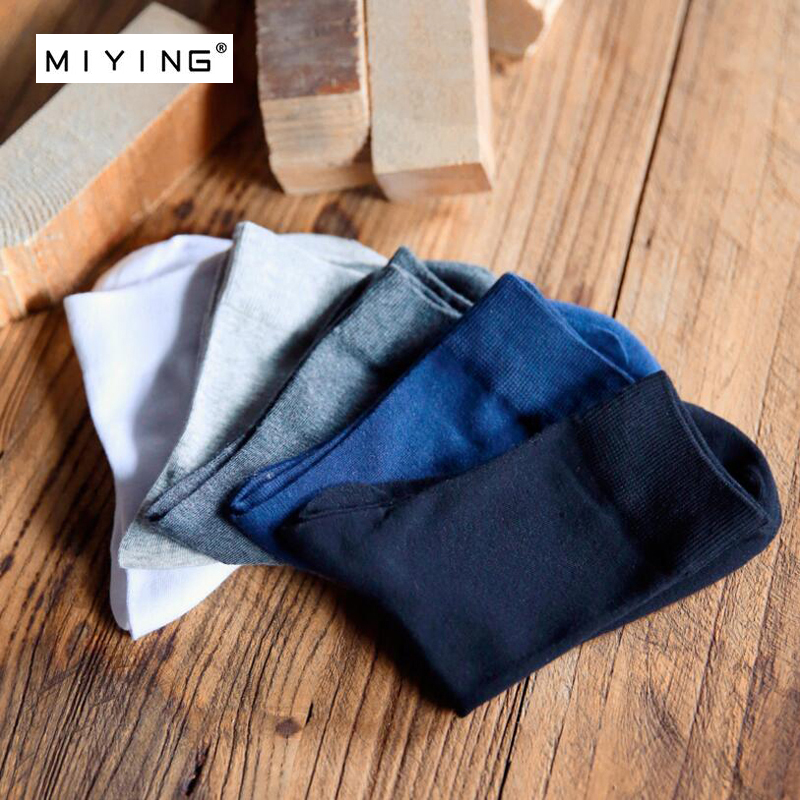 MIYING 5pairs Man Dress Casual Business Cotton Socks Male High Men Sock Pure Color Business Spring Summer Four Season Gift Socks