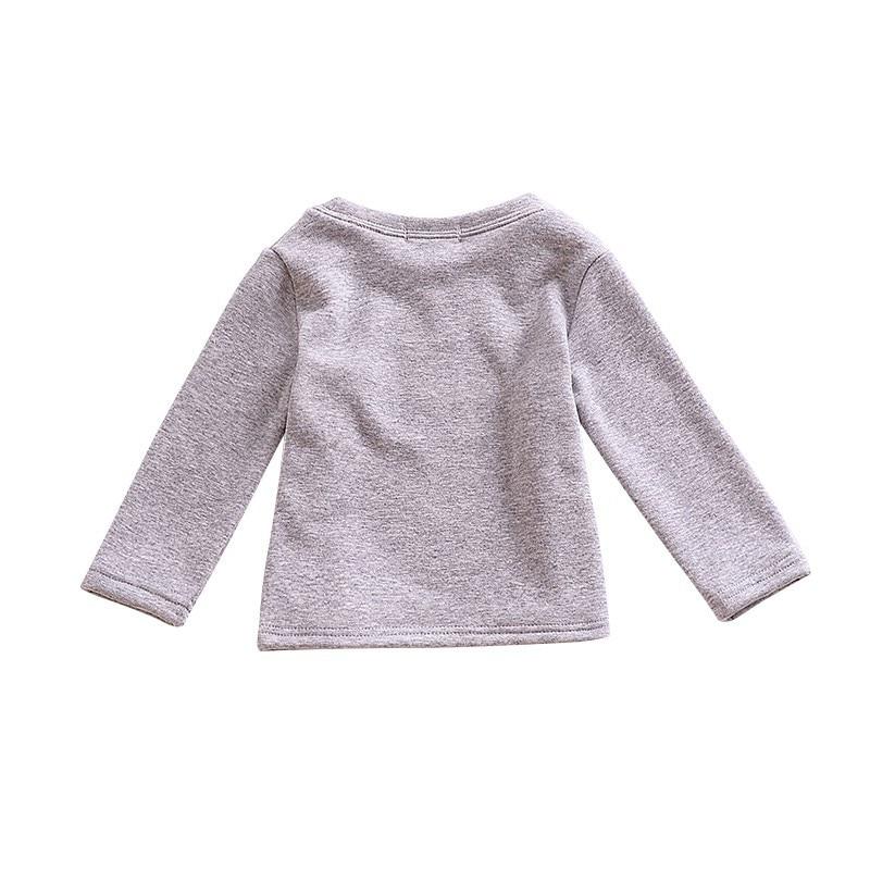 Kid Girls Boys Fleece t shirt Autumn Winter Long Sleeve Warm shirts Candy Color Cotton Sweatshirts