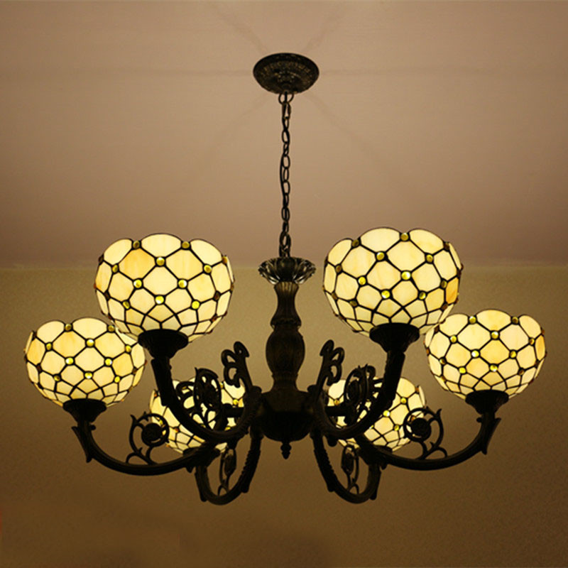 Tiffany Glaspendelleuchten Retro Stil 6 Lichter Wohnzimmer Lampen Schlafzimmer Lampe Hotel DIA 85 CM H
