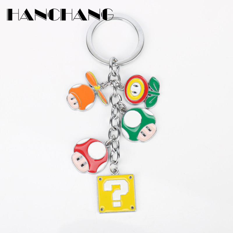 Wholesale Classic Game Anime Keychain Super Mario Alloy mushroom Flower Pendant Key Chain Car Key Holder Keyring chaveiro
