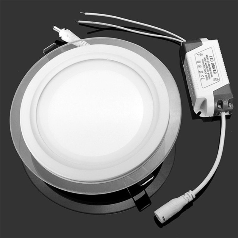 Dimmable 6W 12W 18W LED Panel Downlight Round Glass Panel Lights Ceiling Recessed Lamps AC 220V 240V