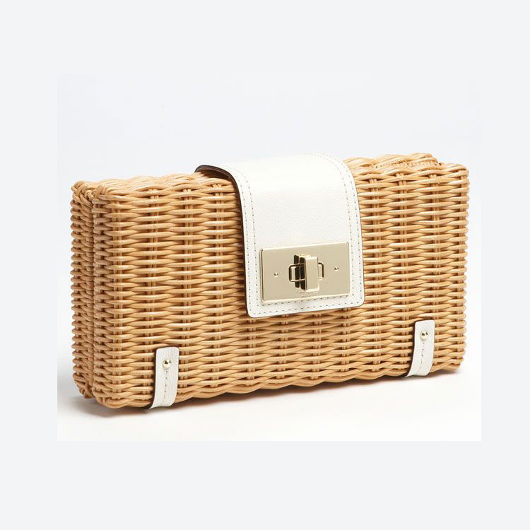 2019 new handmade fashion rattan handbags clutch bag clutch bag wallet phone bag high-end small bag real leather matching