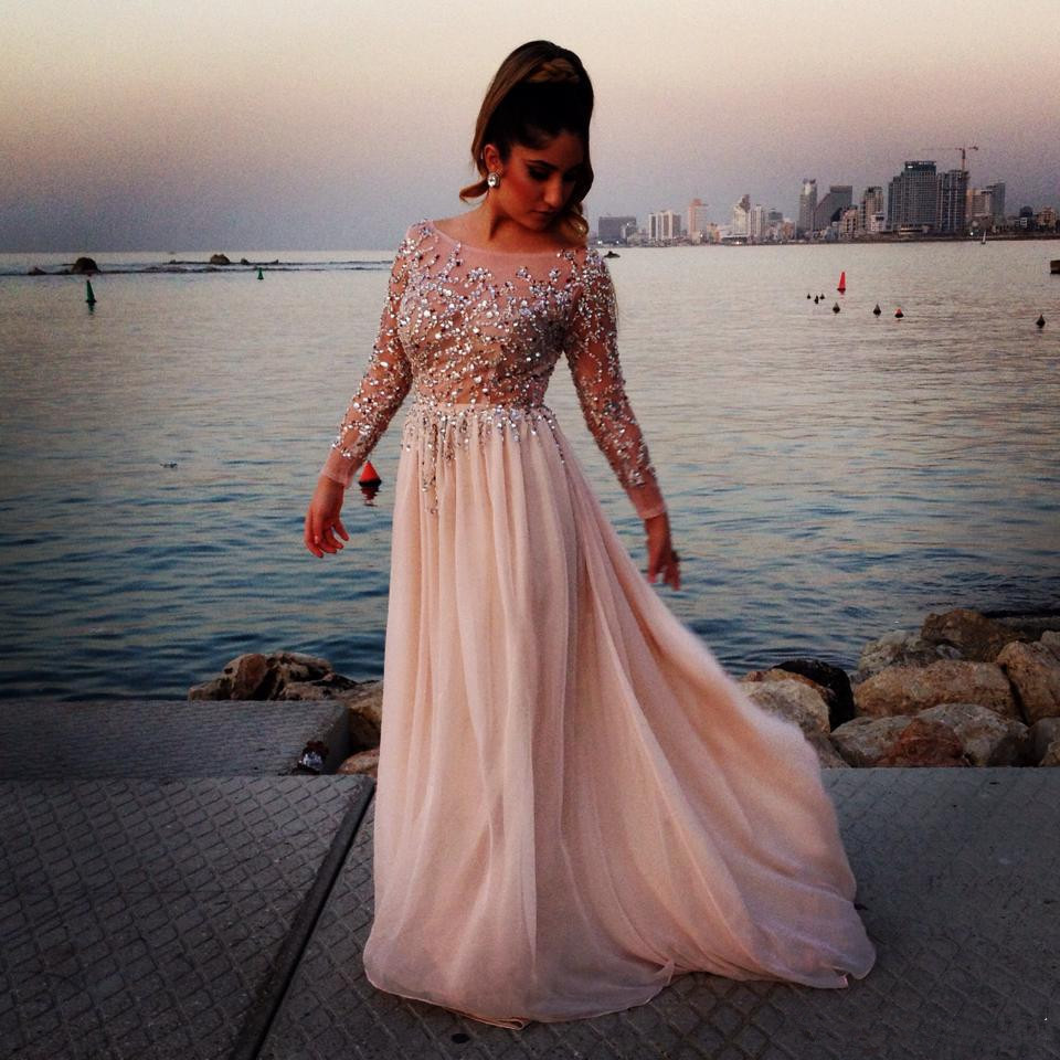 Luxury 2015 New Beading Sequins Prom Dresses Long Sleeve Chiffon ...