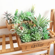 Green Flocking Artificial Succulents Plants Bonsai Desktop Fake Plants Valentine's Day Wedding Decoration Plante Artificielle(China)