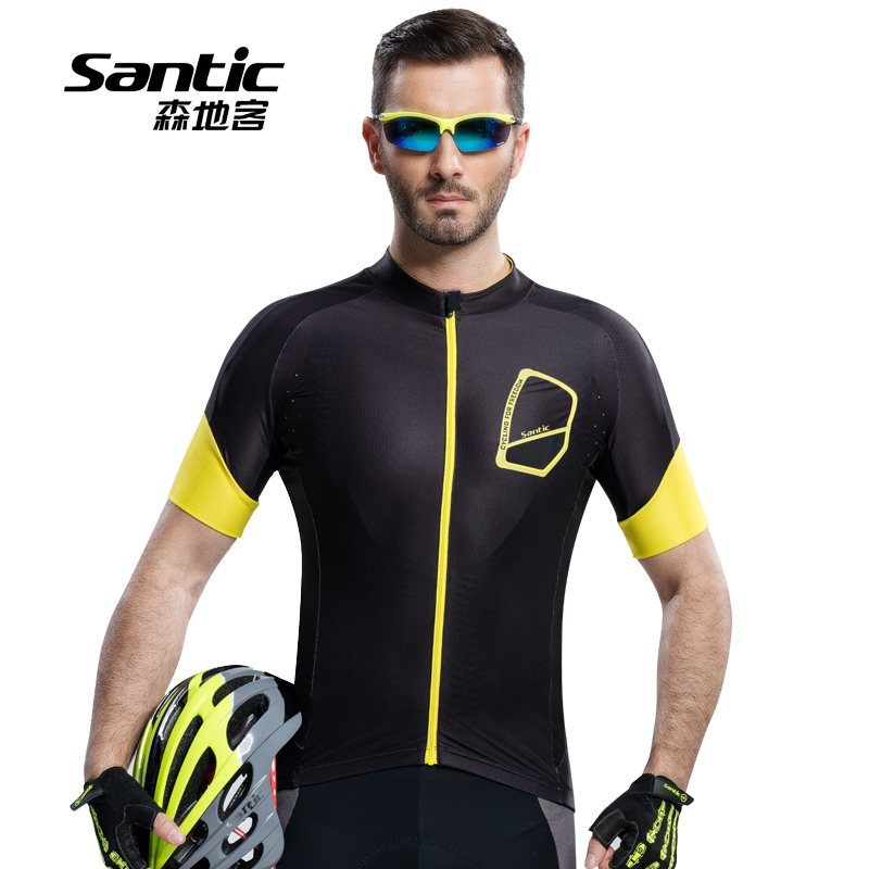 Santic Men's Outdoor Short Sleeve Cycling Jerseys Breathable Quick Dry Bicycle Sportswear MTB Road Bike Anti-UV Clothing for Men nuckily quick dry anti uv long sleeve bicycle jerseys sets windproof cycling clothing gel padds bike pants cycling jerseys sets