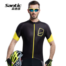 Santic Men's Outdoor Short Sleeve Cycling Jerseys Breathable Quick Dry Bicycle Sportswear MTB Road Bike Anti-UV Clothing for Men